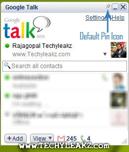 Easily make Google Talk Always on Top using Pin option